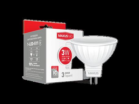 LED лампа MAXUS MR16 3W мягкий свет 220V GU5.3 AP (1-LED-511) (NEW), фото 2