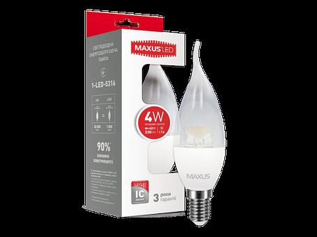 LED лампа MAXUS C37 CL-T 4W яркий свет 220V E14 (1-LED-5316) (NEW), фото 2