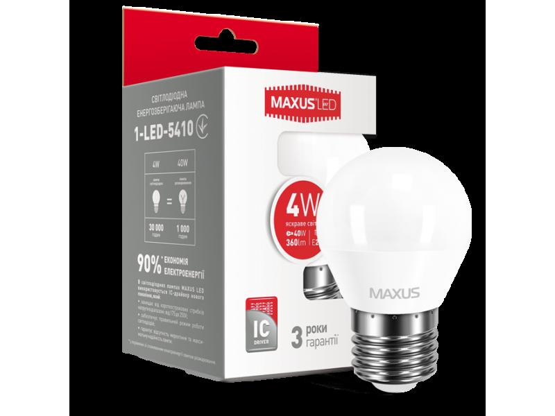 LED лампа MAXUS G45 F 4W яркий свет 220V E27 (1-LED-5410) (NEW)