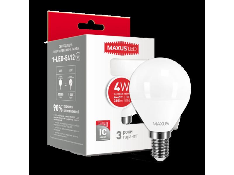 LED лампа MAXUS G45 F 4W яркий свет 220V E14 (1-LED-5412) (NEW)