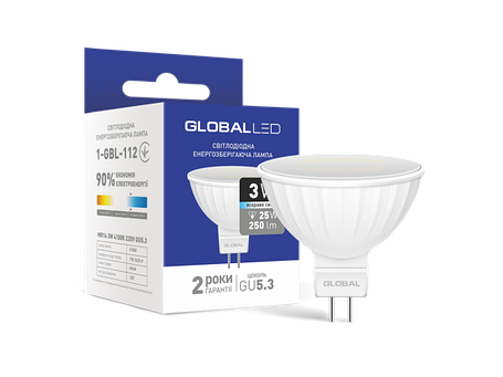 LED лампа GLOBAL MR16 3W яркий свет 220V GU5.3 (1-GBL-112) (NEW), фото 2