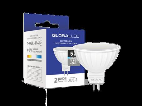 LED лампа GLOBAL MR16 5W яркий свет 220V GU5.3 (1-GBL-114) (NEW), фото 2