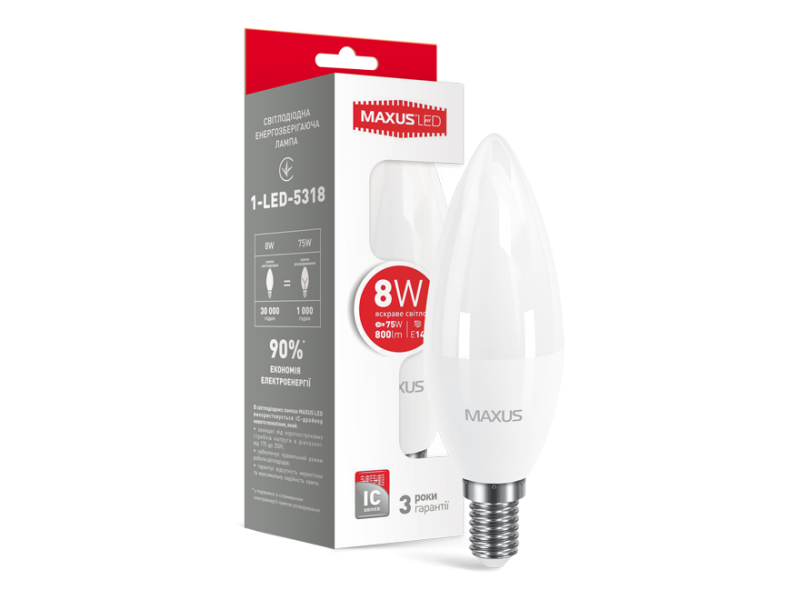 LED лампа MAXUS C37 CL-F 8W 4100K 220V E14 (1-LED-5318)