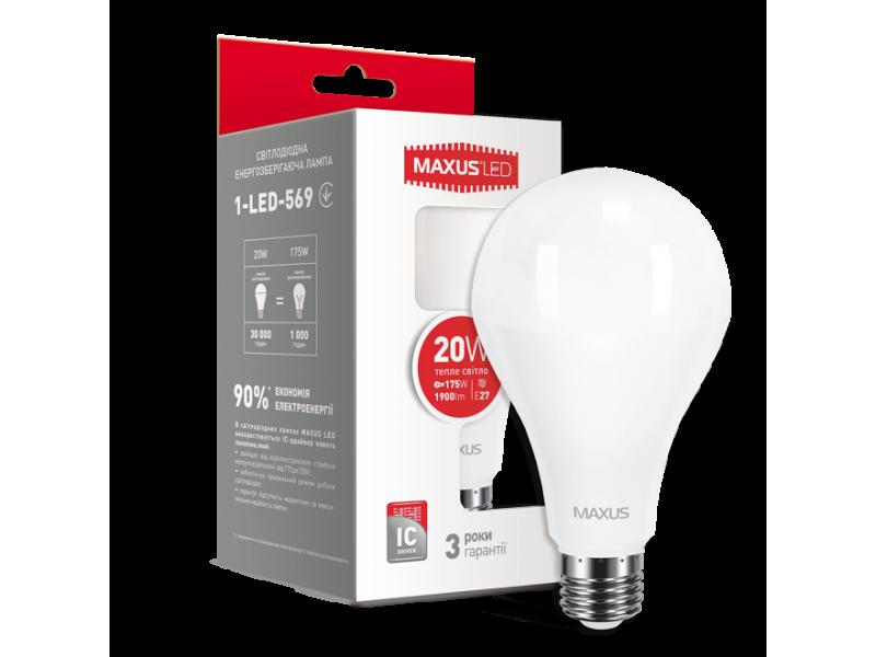 LED лампа MAXUS A80 20W 3000K 220V E27 (1-LED-569)