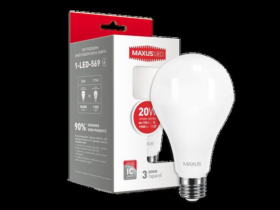 LED лампа MAXUS A80 20W 3000K 220V E27 (1-LED-569), фото 2