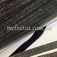 Резинка для повязок (эластичная тесьма), черная с серебром