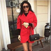 Пальто женское из кашемира короткое с поясом 131 красное