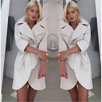 Пальто женское из кашемира короткое с поясом 131 молочное