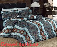 Комплект постельного белья сатин евро Altinbasak Gravel Turkuaz