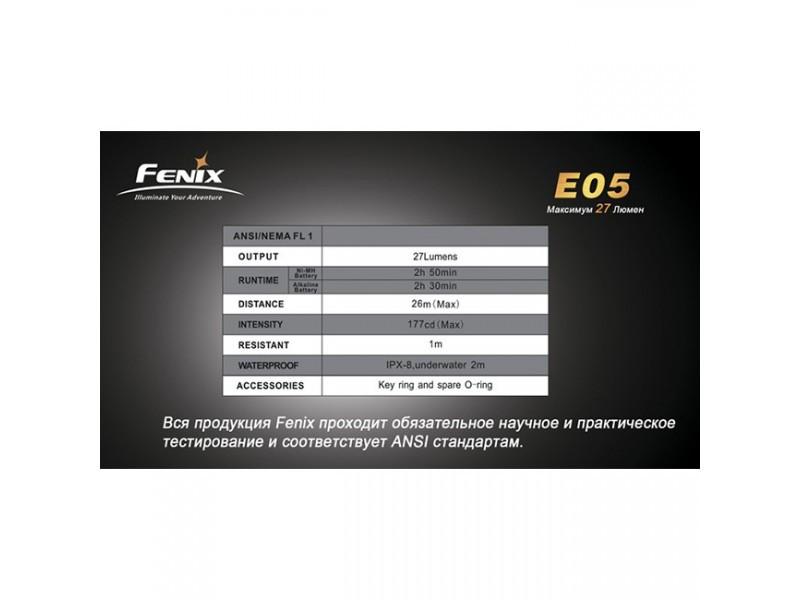 Фонарь Fenix E05 R2 черный в подарочной упаковке