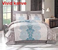 Комплект постельного белья сатин евро Altinbasak Vivid Kahve