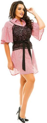 Платье-рубашка женское полубатал гипюр