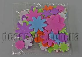 Заготовки из фоамирана на клеевой основе Цветы,звезды 1,5-5см/100шт