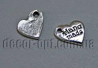 Металлическая бирка серебро HandMade 8,5х7,5мм 28511 50шт.