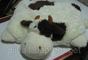 Подушка мягкая игрушка на липучке Лягушка Корова