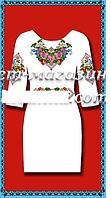 Заготовка из габардина для вышивки женского платья, белое,  до 52 р, 390/350 (цена за 1 шт. + 40 гр.)