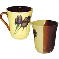 Чашка жёлто-коричневая с деколью 300мл