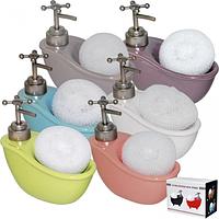 Диспенсер для мыла с губкой Ванночка микс2 330мл 14*15*7см