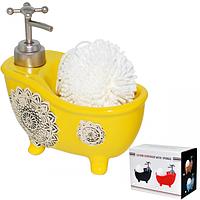Диспенсер для мыла с губкой Ванночка, желтый 450мл 14,5*16*8см