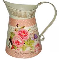 Декоративный металлический кувшин Розовые мечты 16 * 21см