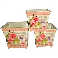 Кашпо квадратное металлическое Розовые мечты 15x14cm
