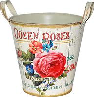 Кашпо круглое металлическое с ручками  Розовая роза 18x18cm