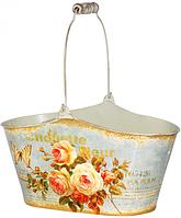 Кашпо овальное металлическое  Чайная роза 26х12,5х13,5см