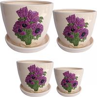 Набор цветочных горшков Пурпурные цветы 4шт 19 * 15,5 (2,9л),  15 * 13 (1,5л) ,  12,5 * 10,5 (0,8л),  9,5 * 8 (0,3л)