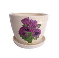 Горшок Пурпурные цветы 9,5*8
