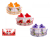 Набор емкостей для сыпучих продуктов (4шт на мет.подставке) Летний сад Микс2 разм. 8Х8Х10,h-7см
