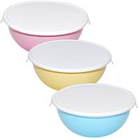 Емкость для хранения продуктов круглая с крышкой 15 * 14 * 5,5см / 0,45л 3 цвета Микс