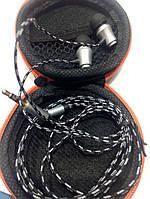 Вакумные наушники JBL metal тканевый провод + чехолоптом
