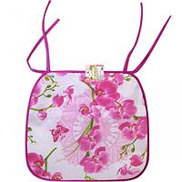 Подушка -сидушка для стула с завязками 35 * 40см Орхидея