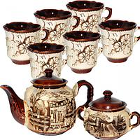 Набор чайный 8 предметов (Чайник1,15л, сахарница420мл,6 чашек340мл) Скиф