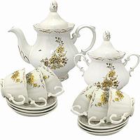 Набор чайный 14пр.Золотая ветка (чашка-200мл;чайник-700мл; сахарн.-500мл;блюдце-14.5см)