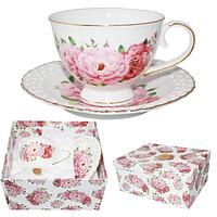 Набор чайный 2пр. 'Цветочное кружево' (чашка-230мл,блюдце-15см)