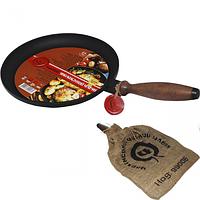 Сковорода чугунная блинная с деревянной ручкой 24см,h-2,5см..
