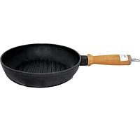 Сковорода чугунная гриль круглая 24см,h-4см