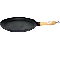 Сковорода чугунная литая с деревянной ручкой 26см,h-2,5см