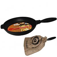 Сковорода чугунная гриль круглая 24 см,h-4см