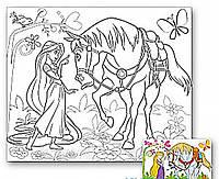 Холст с контуром 'Рапунцель с конем' (25см*30см)
