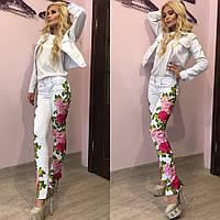 """Модные женские стрейчевые джинсы отличного качества """"Вставки кружево, внизу на молниях"""" 42-60р"""