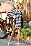 """Практичное и универсальное платье для прохладного времени года """"Гусинная лапка+кожа"""""""