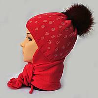Зимний комлект для девочки с меховым помпоном.Agbo (Польша).