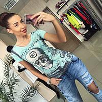 """Модная, женская футболка с рисунком черепа """"Модный принт"""" РАЗНЫЕ ЦВЕТА"""