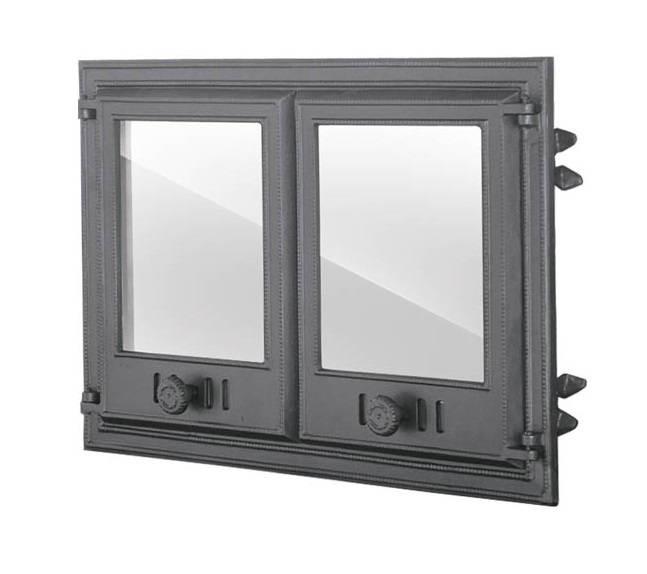 Двустворчатая дверца печи со стеклом (67,5х48 см/61х41,5 см)