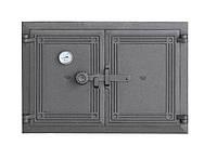 Дверца печи сплошная на две створки с термометром (48х33,5 см/44х29,5 см)