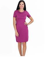 Модное женское офисное платье цвет сиреневый