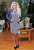 """Модное платье"""" гусиная лапка"""" +кожаные рукава"""