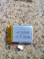 Батарея для автонавигаторов 043040P (40*30*3 мм), (Li-Polymer 3.7V 700мАч)